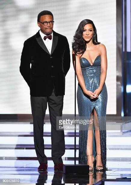 Judge Greg Mathis and Angela Rye onstage at the 49th NAACP Image Awards on January 15 2018 in Pasadena California