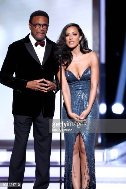 Judge Greg Mathis and Angela Rye speak onstage during the 49th NAACP Image Awards at Pasadena Civic Auditorium on January 15 2018 in Pasadena...