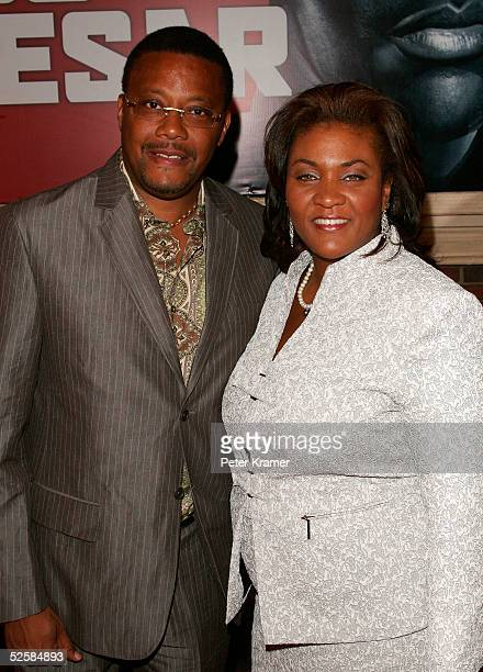 Judge Greg Mathis and his wife attend the opening night of the Broadway play Julius Caesar on April 3 2005 in New York City