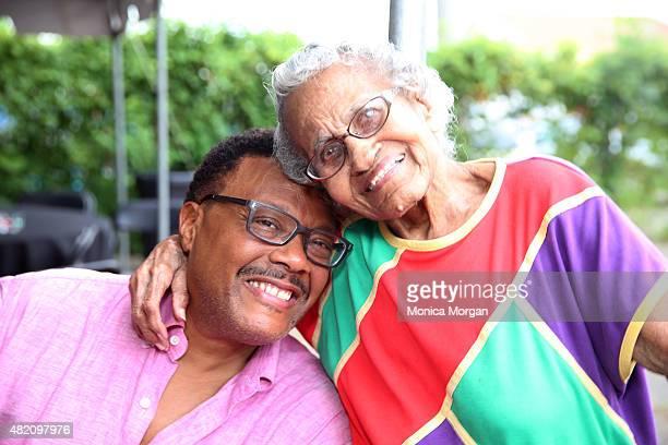Judge Greg Mathis and Leola Washington posing at Mathis Community Center on July 26 2015 in Detroit Michigan