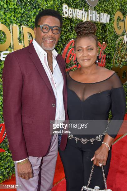 Judge Greg Mathis and Linda Mathis arrive at the 7th Annual Gold Meets Golden at Virginia Robinson Gardens and Estate on January 04 2020 in Los...
