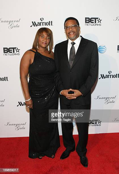 Judge Greg Mathis and Linda Reese attend the Inaugural Ball hosted by BET Networks at Smithsonian American Art Museum National Portrait Gallery on...