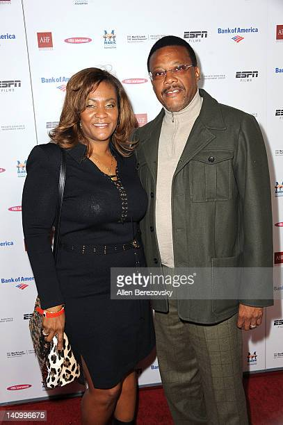 Judge Greg Mathis and wife Linda Mathis arrive at the Premiere Of ESPN Films' The Announcement at Regal Cinemas LA Live on March 6 2012 in Los...