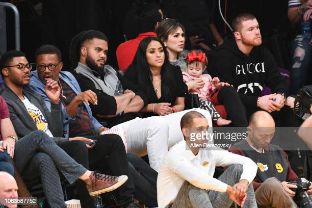 Judge Greg Mathis baseball player Kenley Jansen Gianni Jansen and boxer Canelo Alvarez attend a basketball game between the Los Angeles Lakers and...