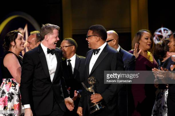 Judge Greg Mathis winner of Outstanding Legal/Courtroom Program for 'Judge Mathis' accepts award onstage during the 45th annual Daytime Emmy Awards...