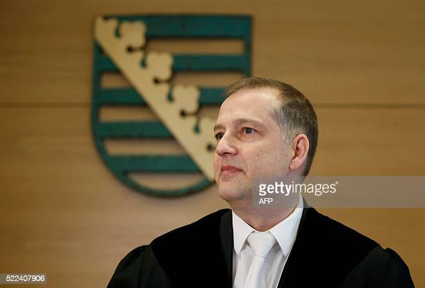 Judge Hans Hlavka waits before the start of the trial of Lutz Bachmann founder of Germany's xenophobic and antiIslamic PEGIDA movement in a courtroom...