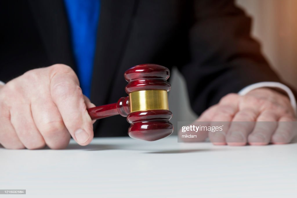 Judge in the courtroom : Stock Photo