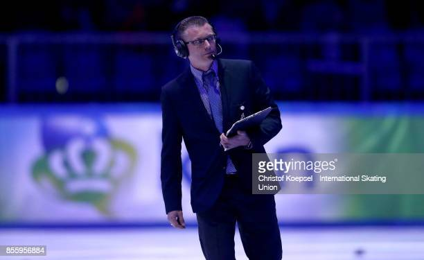 A judge is seen during the Audi ISU World Cup Short Track Speed Skating at Bok Hall on September 30 2017 in Budapest Hungary