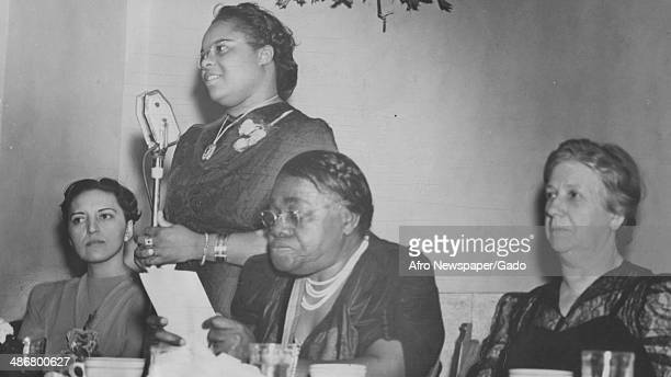 Judge Jane Bolin, Vivian Mason, civil rights leader Mary McLeod Bethune and Mary Beard deliver a speech at the Harlem YMCA during a meeting of the...