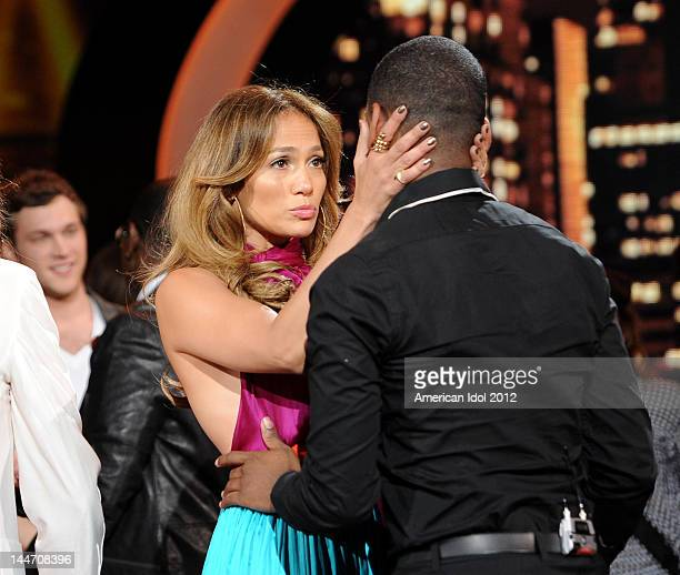 Judge Jennifer Lopez and eliminated contestant Joshua Ledet onstage at FOX's American Idol Season 11 Top 3 To 2 Live Elimination Show on May 17, 2012...