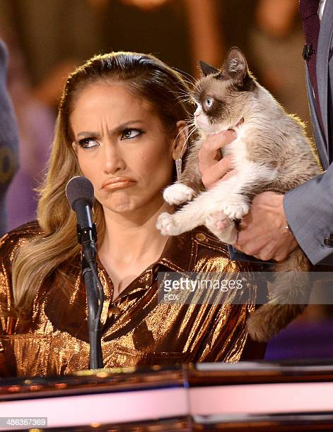 Judge Jennifer Lopez and Grumpy Cat onstage at FOX's American Idol XIII Top 6 Live Performance Show on April 23 2014 in Hollywood California