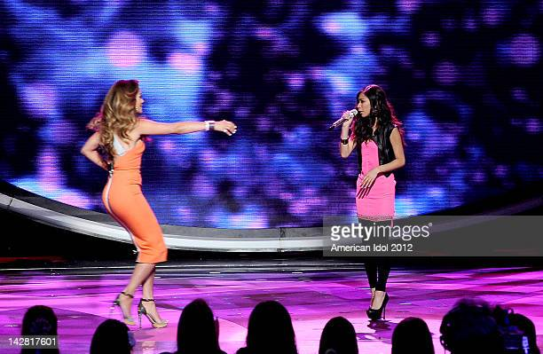 Judge Jennifer Lopez and saved contestant Jessica Sanchez onstage at FOX's American Idol Season 11 Top 7 To 6 Live Elimination Show on April 12 2012...