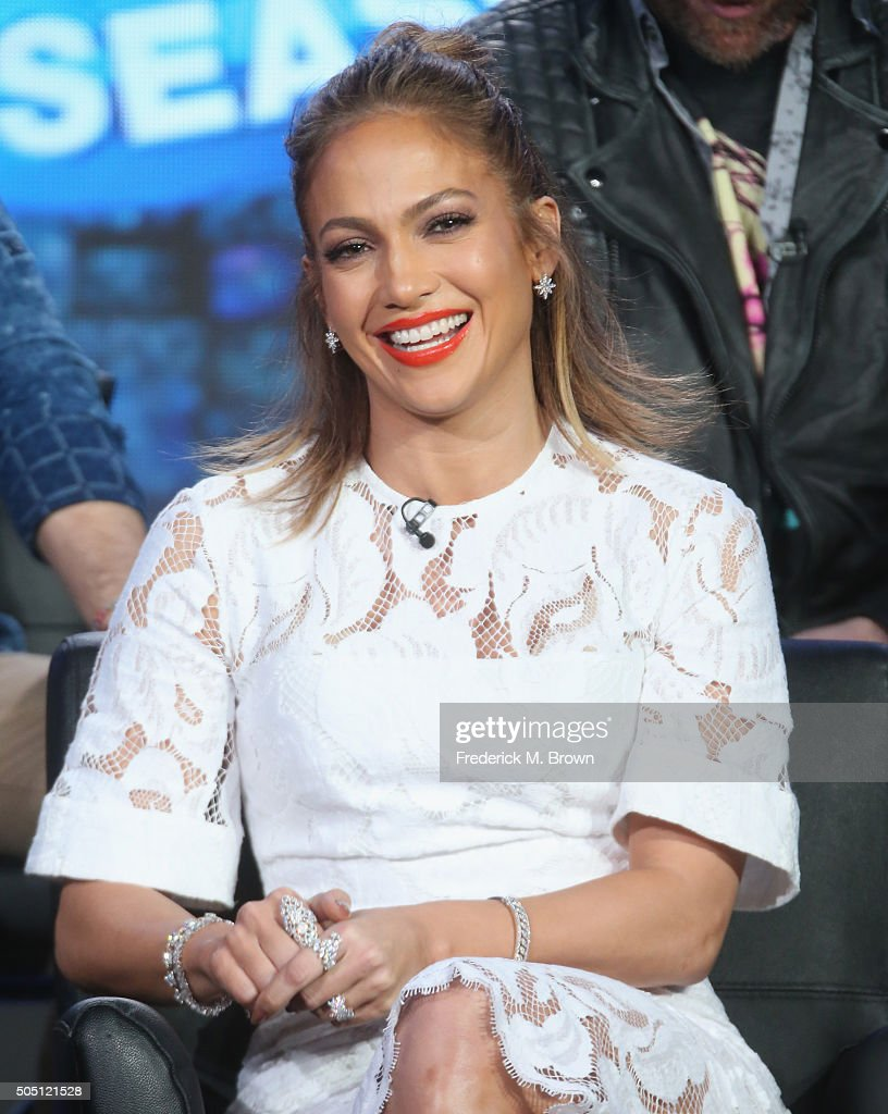 Judge Jennifer Lopez speaks onstage during the 'American Idol' panel discussion at the FOX portion of the 2015 Winter TCA Tour at the Langham Huntington Hotel on January 15, 2016 in Pasadena, California
