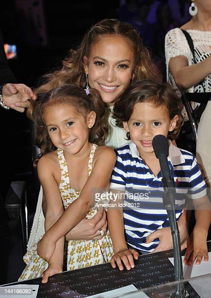 Judge Jennifer Lopez with daughter Emme and son Max at FOX's American Idol Season 11 Top 4 To 3 Live Elimination Show on May 10 2012 in Hollywood...