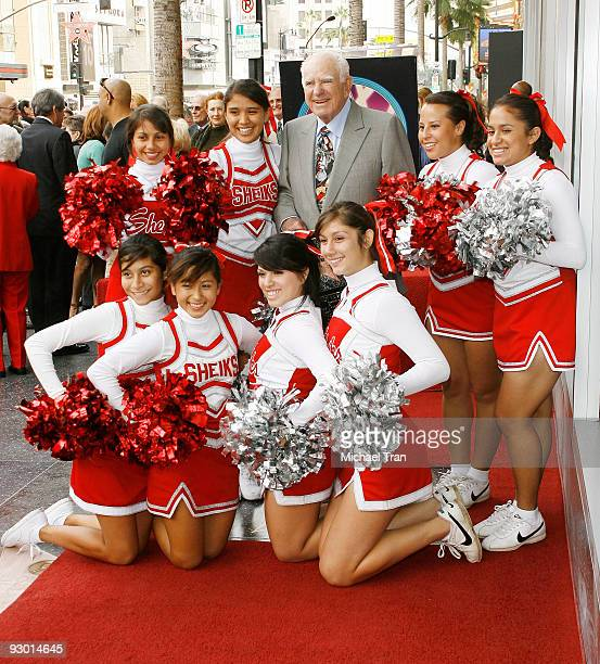 Judge Joseph A. Wapner with the Hollywood High School cheer squad attend the 90th Birthday celebration and honoring him with a Star on The Hollywood...