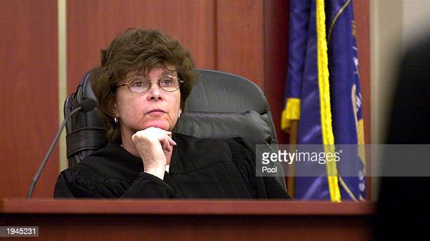 Judge Judith Atherton listens to the attorneys for Brian David Mitchell in court April 22 2003 in Salt Lake City Utah Mitchell is charged with the...