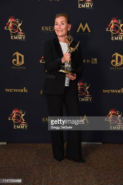 Judge Judy poses with the Lifetime Achievement Award during the 46th annual Daytime Emmy Awards at Pasadena Civic Center on May 05, 2019 in Pasadena,...