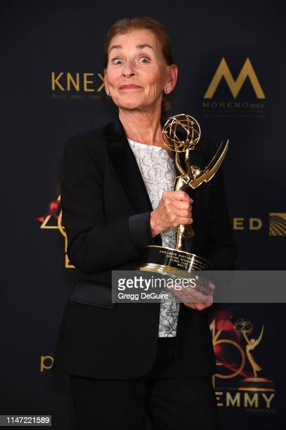 Judge Judy poses with the Lifetime Achievement Award in the press room during the 46th annual Daytime Emmy Awards at Pasadena Civic Center on May 05...
