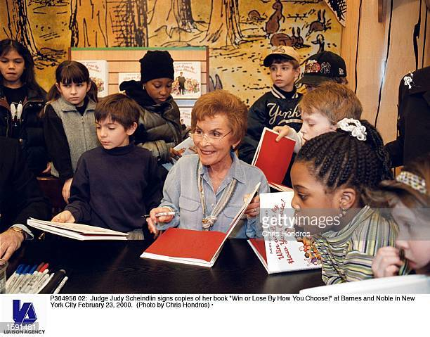 Judge Judy Scheindlin signs copies of her book Win or Lose By How You Choose at Barnes and Noble in New York City February 23 2000