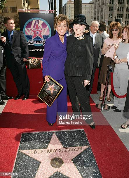 Judge Judy Sheindlin and Cindy Adams during Judge Judy Sheindlin Honored With a Star on the Hollywood Walk of Fame For Her Achievements in Television...