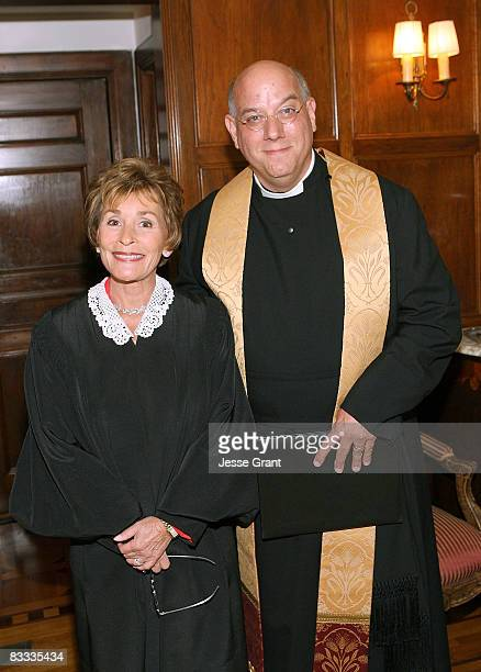 Judge Judy Sheindlin and Gabriel Ferrer attend the wedding of Michael Feinstein and Terrence Flannery held at a private residence on October 17 2008...