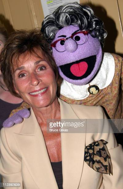 Judge Judy Sheindlin and Mrs Thistletwat during Judge Judy Visits The Bad Idea Bears Backstage at Avenue Q on Broadway September 15 2004 at The John...