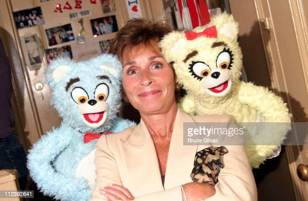 Judge Judy Sheindlin and The Bad Idea Bears during Judge Judy Visits The Bad Idea Bears Backstage at Avenue Q on Broadway September 15 2004 at The...
