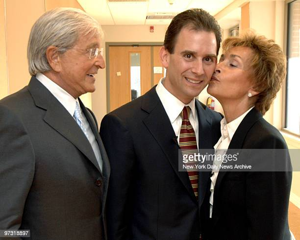 Judge Judy Sheindlin gives kiss of approval to son Adam Levy after the republican tossed his hat into the Putnam County race for district attorney...