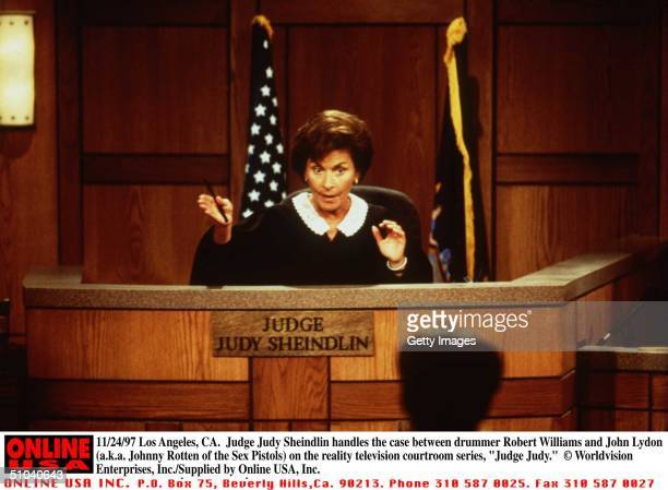 "Judge Judy Sheindlin Handles The Case Between Drummer Robert Williams And John Lydon In The Reality Television Courtroom Series ""Judge Judy"",..."