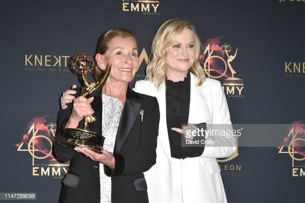 Judge Judy Sheindlin with her Lifetime Achievement Award and Amy Poehler attend the 46th Annual Daytime Emmy Awards Press Room at Pasadena Civic...