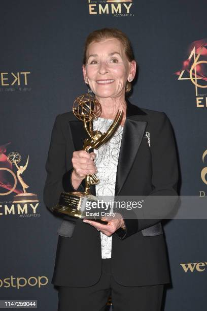 Judge Judy Sheindlin, with her Lifetime Achievement Award, attends the 46th Annual Daytime Emmy Awards - Press Room at Pasadena Civic Center on May...