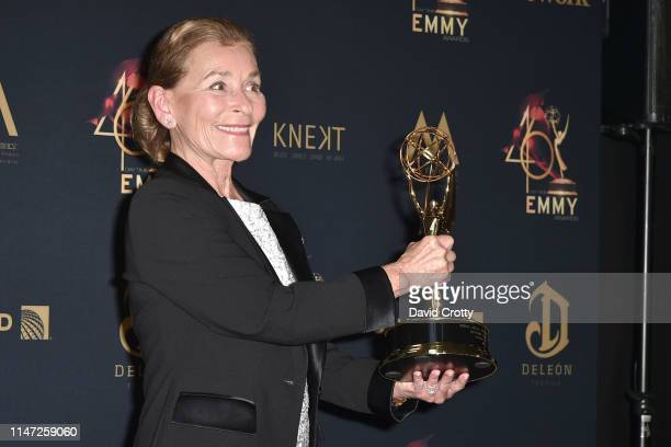 Judge Judy Sheindlin with her Lifetime Achievement Award attends the 46th Annual Daytime Emmy Awards Press Room at Pasadena Civic Center on May 05...