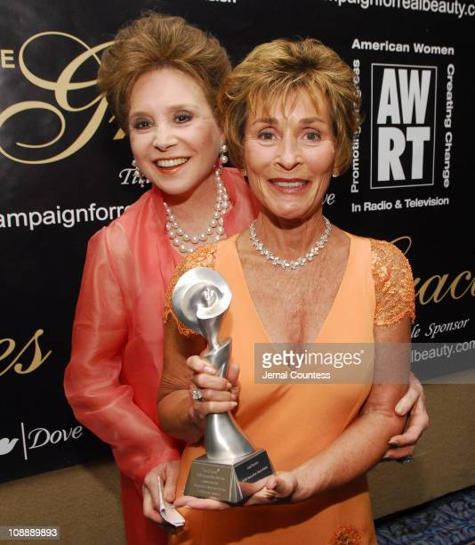 Judge Judy Shindlin winner of AWRT Gracie Allen Tribute Award for Television and Cindy Adams