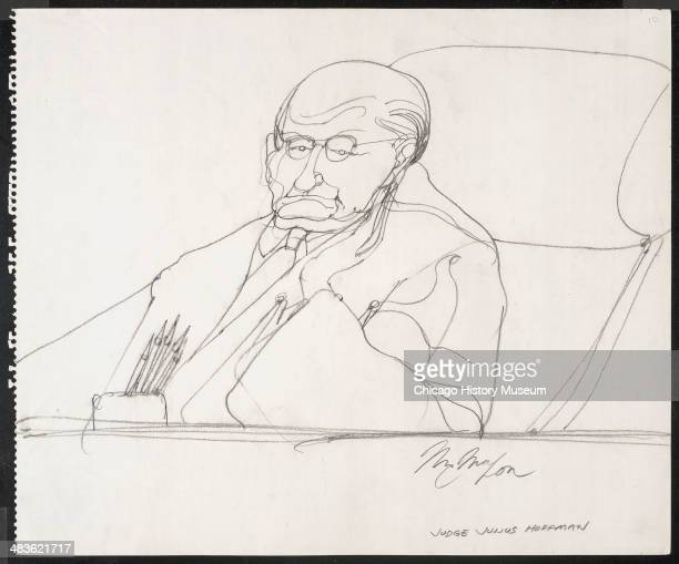 Judge Julius Hoffman at bench in a courtroom illustration during the trial of the Chicago Eight Chicago Illinois late 1969 or early 1970 The Eight or...