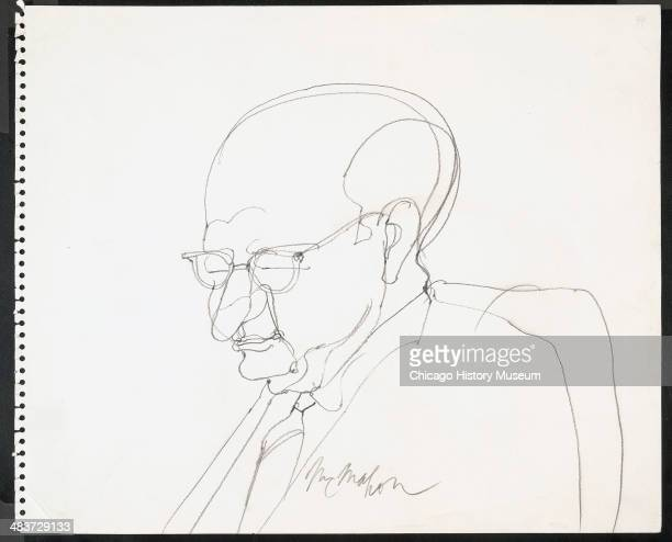 Judge Julius Hoffman dosing off in a courtroom illustration during the trial of the Chicago Eight Chicago Illinois late 1969 or early 1970 The Eight...
