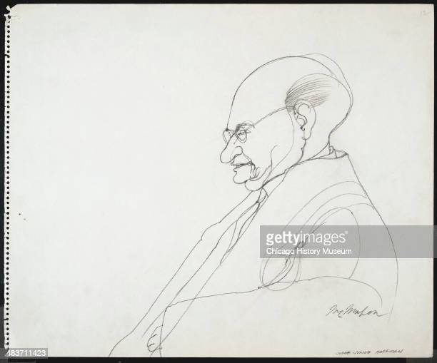 Judge Julius Hoffman in a courtroom illustration during the trial of the Chicago Eight Chicago Illinois late 1969 or early 1970 The Eight or Seven as...