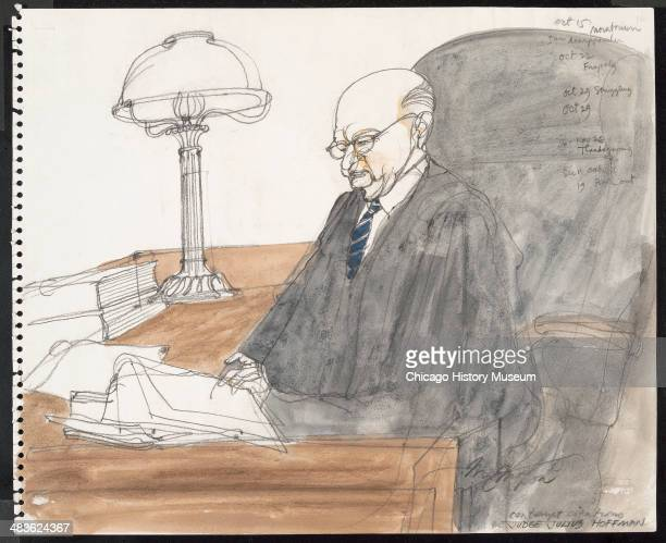 Judge Julius Hoffman issuing contempt citations in a courtroom illustration during the trial of the Chicago Eight Chicago Illinois late 1969 or early...
