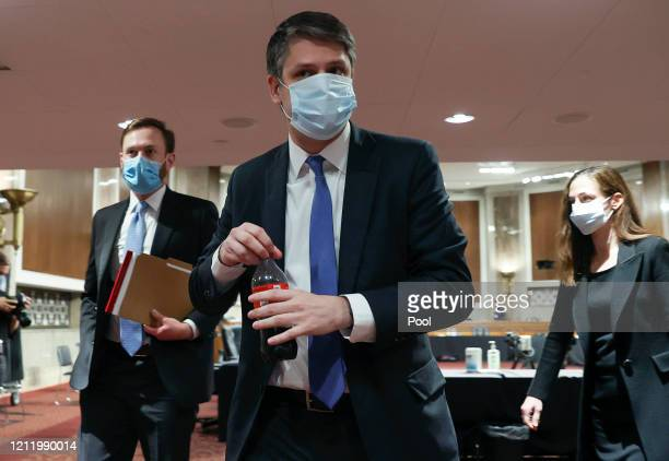 Judge Justin Walker departs after testifying before a Senate Judiciary Committee confirmation hearing on his nomination to be a US circuit judge for...