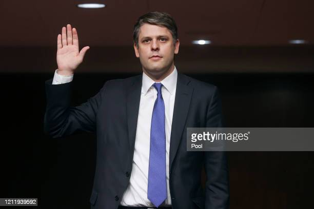Judge Justin Walker is sworn in prior to testifying before a Senate Judiciary Committee hearing on his nomination to be a US circuit judge for the...