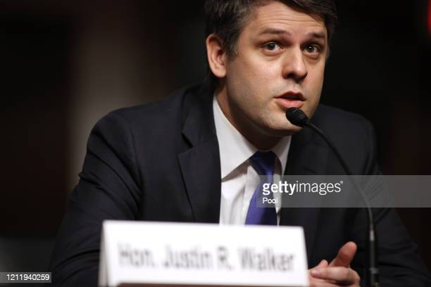 Judge Justin Walker testifies before his US Senate Judiciary Committee confirmation hearing on his nomination to be a US Circuit Court judge for the...