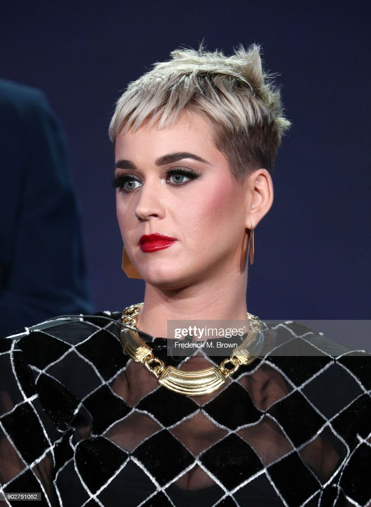 Judge Katy Perry of the television show American Idol speaks onstage during the ABC Television/Disney portion of the 2018 Winter Television Critics Association Press Tour at The Langham Huntington, Pasadena on January 8, 2018 in Pasadena, California.