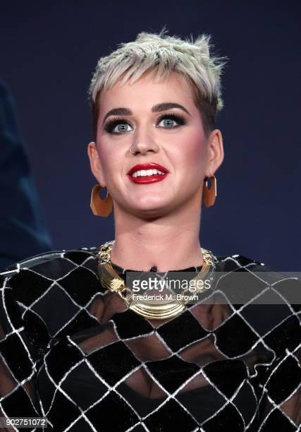 Judge Katy Perry of the television show American Idol speaks onstage during the ABC Television/Disney portion of the 2018 Winter Television Critics...
