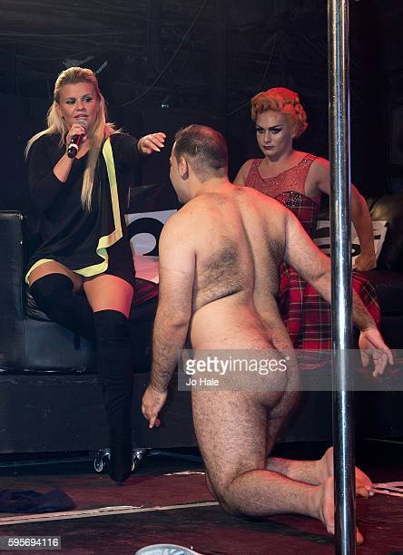 Judge Kerry Katona and Kassan attend GAY Porn Idol at GAY Heaven on August 25 2016 in London England