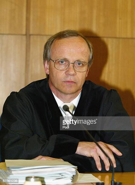 Judge Klaus Drescher sits in the courtroom before delivering the verdict in the retrial of selfconfessed cannibal Armin Meiwes on 09 May 2006 at...