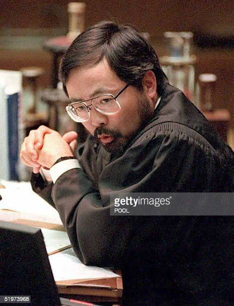 Judge Lance Ito during the morning court session in the O.J. Simpson double murder trial 31 May ruled that all but four of the Coroner's photographs...