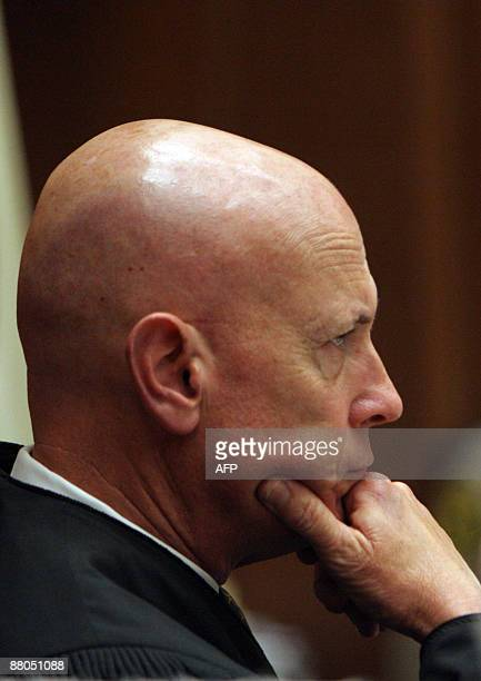 Judge Larry Paul Fidler gives the sentence to music producer Phil Spector in a Los Angeles courtroom on May 29 for the murder of actress Lana...