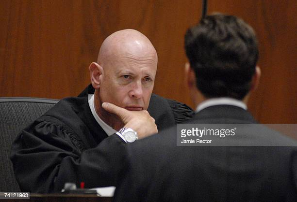 Judge Larry Paul Fidler listens to lead prosecutor Alan Jackson while he and the other attorneys approached the bench during music producer Phil...