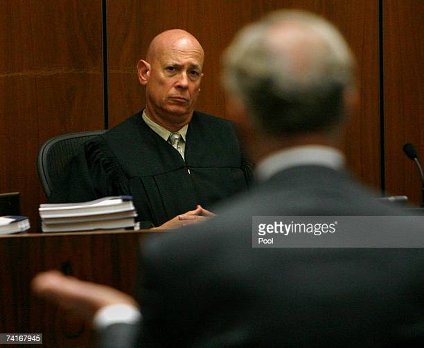Judge Larry Paul Fidler listens to prosecutor Pat Dixon during Phil Spector's murder trial at Los Angeles Superior Court May 16 2007 in Los Angeles...