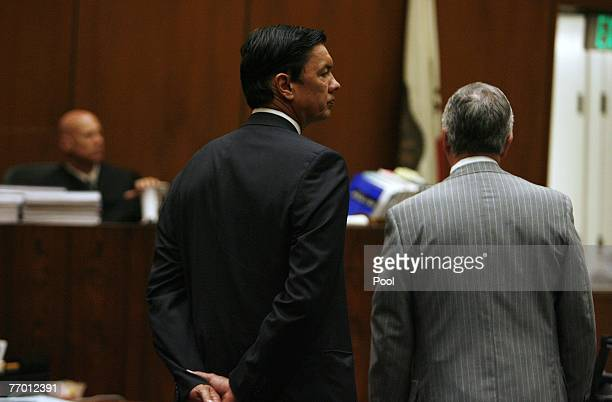 Judge Larry Paul Fidler listens to Roderick Lindblom and John Taylor attorneys for Donna Clarkson, mother of the late Lana Clarkson, during a hearing...