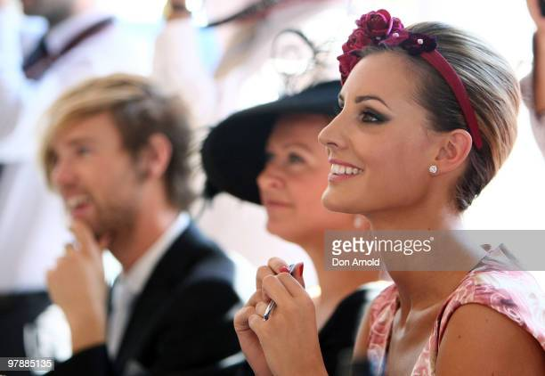 Judge Laura Dundovic looks on during Myer Ladies Day as part of the Golden Slipper Racing Carnival at Rosehill Gardens on March 20 2010 in Sydney...